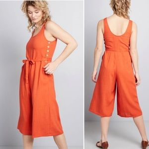 ModCloth | Elated All Over Linen Cropped Jumpsuit
